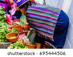 view on maya woman on market in ... | Shutterstock . vector #695444506