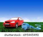 3d illustration of car over...   Shutterstock . vector #695445490