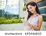 smiling young pretty woman with ...   Shutterstock . vector #695446810