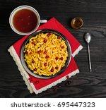 sweet breakfast tatar dessert...   Shutterstock . vector #695447323