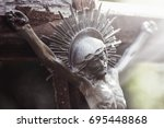 crucifixion of jesus christ as... | Shutterstock . vector #695448868