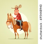 happy smiling cowboy sheriff... | Shutterstock .eps vector #695448940