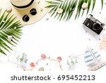 traveler accessories  tropical... | Shutterstock . vector #695452213
