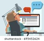 happy smiling user man... | Shutterstock .eps vector #695452624