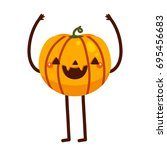 funny pumpkin  cartoon... | Shutterstock .eps vector #695456683