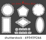 set of delicate white lace... | Shutterstock . vector #695459266
