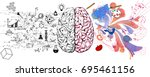 brain left analytical and right ... | Shutterstock .eps vector #695461156