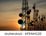 silhouette satellite dish...   Shutterstock . vector #695464120