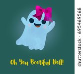 beautiful like a doll ghost... | Shutterstock .eps vector #695469568