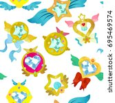 fancy magical brooches.... | Shutterstock .eps vector #695469574