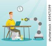 young caucasian developer... | Shutterstock .eps vector #695471599