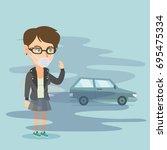young caucasian woman standing... | Shutterstock .eps vector #695475334