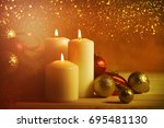 christmas candles and ornaments ... | Shutterstock . vector #695481130