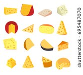 cartoon cheese icons set.... | Shutterstock .eps vector #695487070