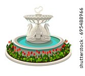 fountain with swans isolated on ... | Shutterstock .eps vector #695488966
