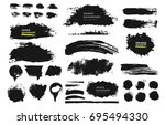 set of black paint  ink brush ... | Shutterstock .eps vector #695494330