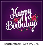 happy birthday with rose cartoon | Shutterstock .eps vector #695497276