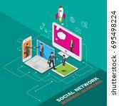 isometric social network... | Shutterstock .eps vector #695498224