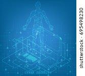 isometric social network... | Shutterstock .eps vector #695498230
