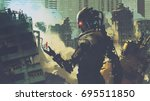 giant futuristic robot looking... | Shutterstock . vector #695511850