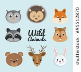 cute wild animal nature fauna... | Shutterstock .eps vector #695512870