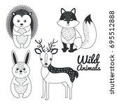 cute wild animal nature fauna... | Shutterstock .eps vector #695512888