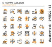 christmas elements   thin line... | Shutterstock .eps vector #695521468