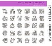 social media technology   thin... | Shutterstock .eps vector #695521624