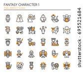 fantasy character 1   thin line ... | Shutterstock .eps vector #695521684