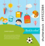 back to school background with... | Shutterstock .eps vector #695522884