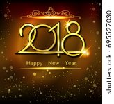 vector 2018 new year black... | Shutterstock .eps vector #695527030