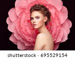 beautiful woman on the... | Shutterstock . vector #695529154