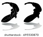 silhouette of surfer player  ... | Shutterstock .eps vector #695530870