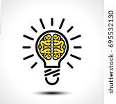 light bulb idea with brain... | Shutterstock .eps vector #695532130