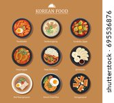 set of korean food flat design. ... | Shutterstock .eps vector #695536876