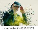 a person in virtual glasses...   Shutterstock . vector #695537794