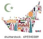 symbols of the united arab... | Shutterstock .eps vector #695540389