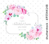 square floral vector design... | Shutterstock .eps vector #695544148