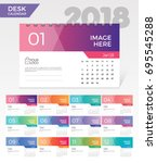 desk calendar 2018. simple... | Shutterstock .eps vector #695545288