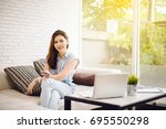 beautiful young asia woman with ... | Shutterstock . vector #695550298