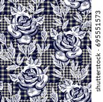 eclectic fabric plaid seamless... | Shutterstock .eps vector #695551573