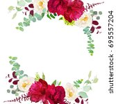 elegant autumn round floral... | Shutterstock .eps vector #695557204