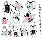 set of hand drawn colorful... | Shutterstock .eps vector #695558173