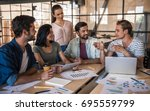 beautiful young business people ... | Shutterstock . vector #695559799