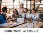 beautiful young business people ... | Shutterstock . vector #695559919