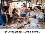 beautiful young business people ... | Shutterstock . vector #695559958