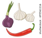 onion  garlic and chili pepper. ...