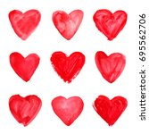 set of red hand drawn... | Shutterstock . vector #695562706
