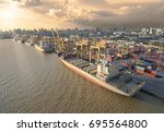 aerial view of cargo ship ... | Shutterstock . vector #695564800