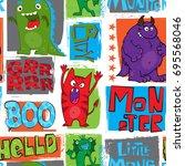 seamless monster pattern for  ... | Shutterstock .eps vector #695568046